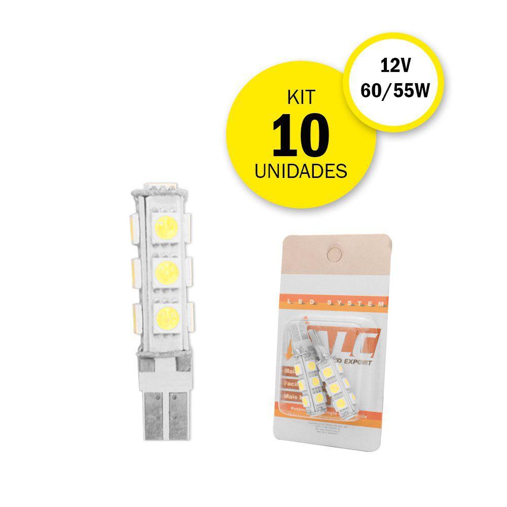 KIT 10 LÂMPADAS PINGO 13 LEDS T10
