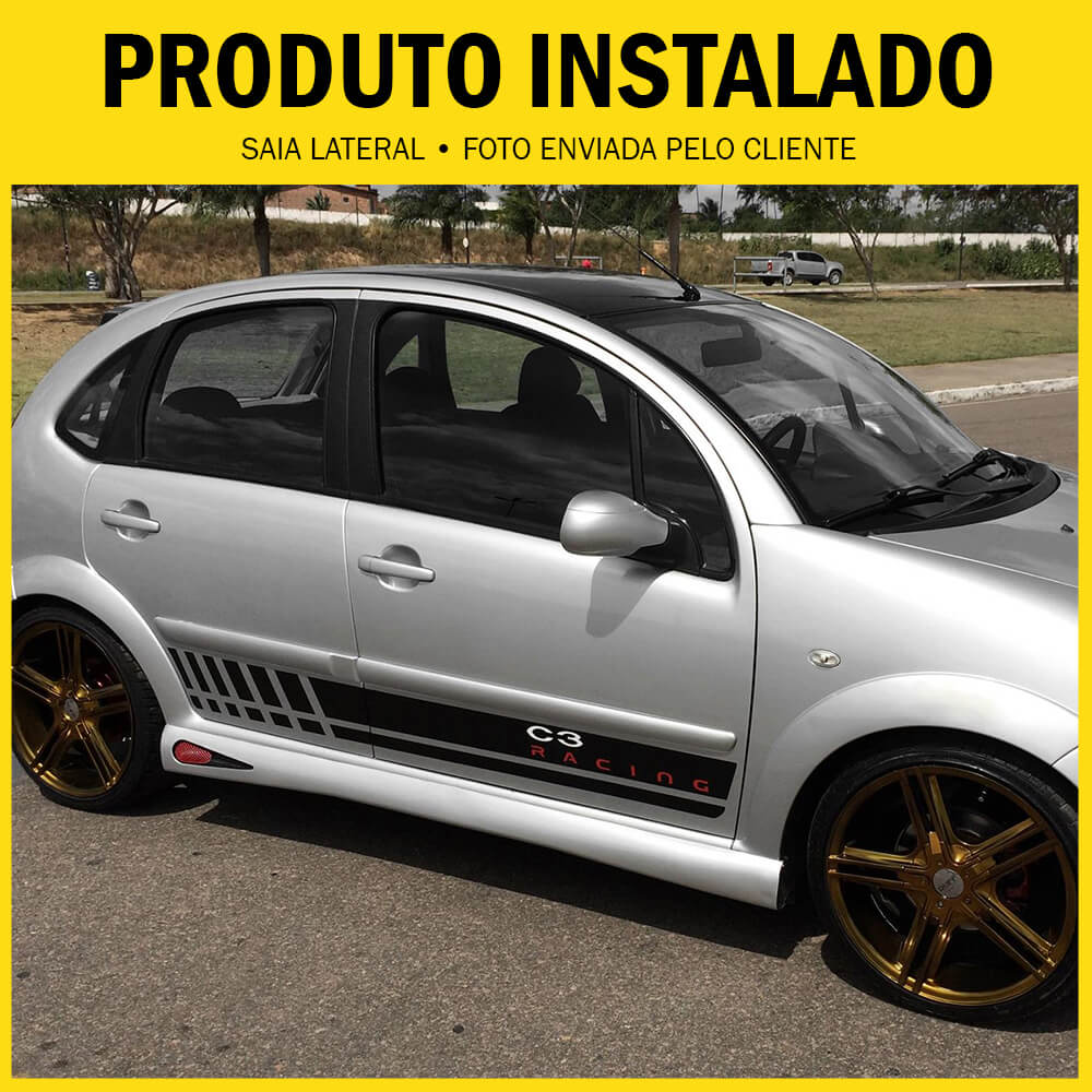 Spoiler Lateral Pick-Up Corsa 94 95 96 97 98 99 00 01 02 03 2 Portas Cor Preta Com Aplique Central Prata e Ponteira Preta Prata Bi-Partido