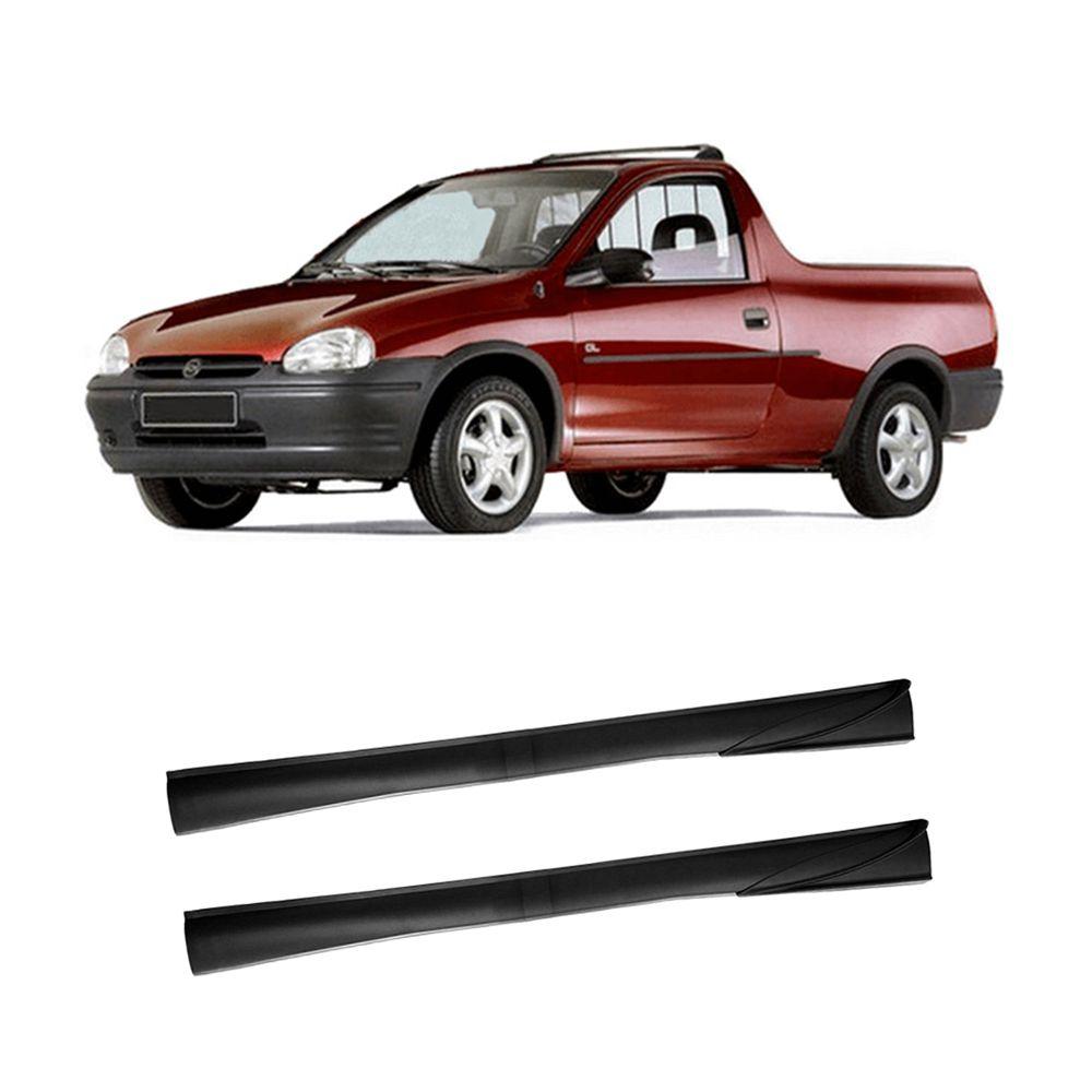Spoiler Lateral Pick-Up Corsa 94 95 96 97 98 99 00 01 02 03 2 Portas Cor Preta Com Ponteira Preta Prata Bi-Partido