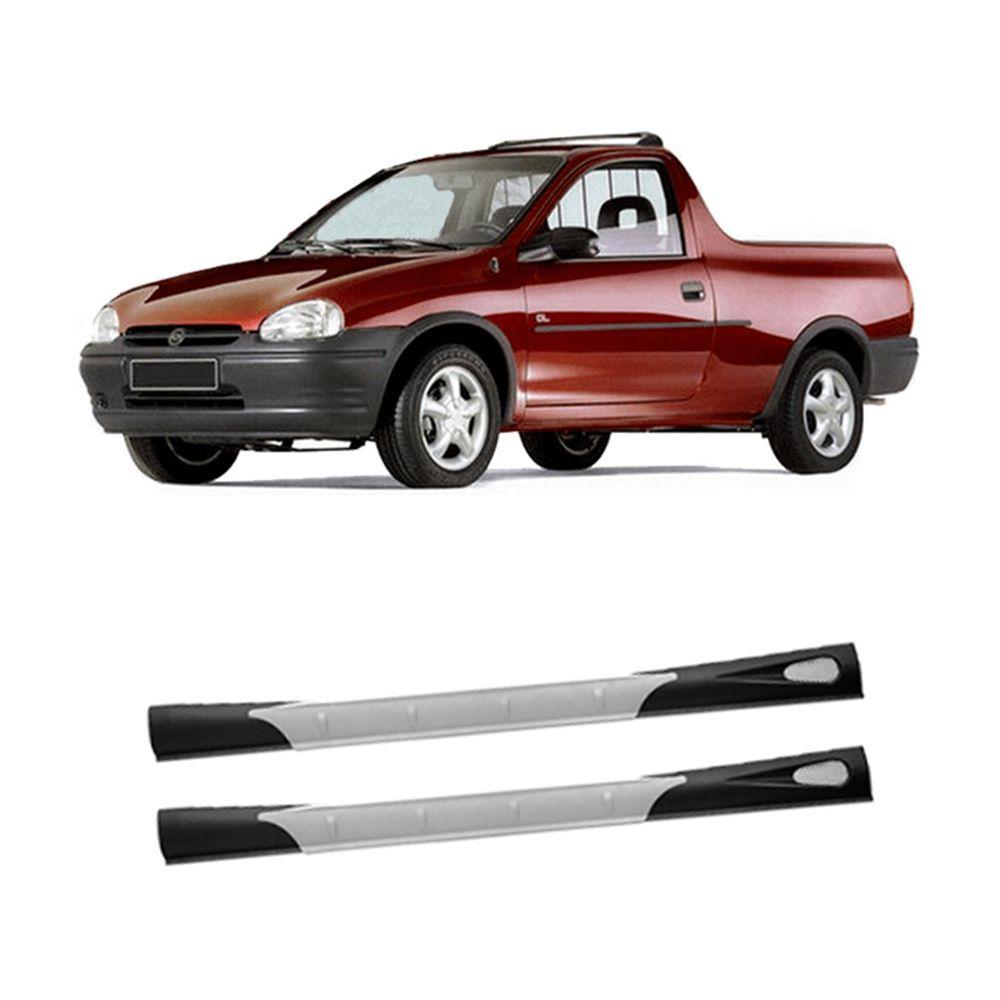 Spoiler Lateral Pick-Up Corsa 94 95 96 97 98 99 00 01 02 03 2 Portas Cor Preta Com Aplique Central Prata Bi-Partido  - Artmilhas