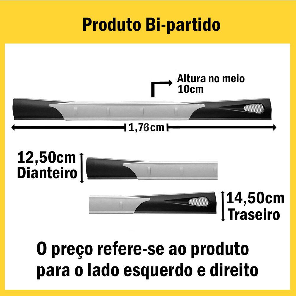 Spoiler Lateral Ká 08 09 10 11 12 13 2 Portas Cor Preta Com Aplique Central Prata Bi-Partido