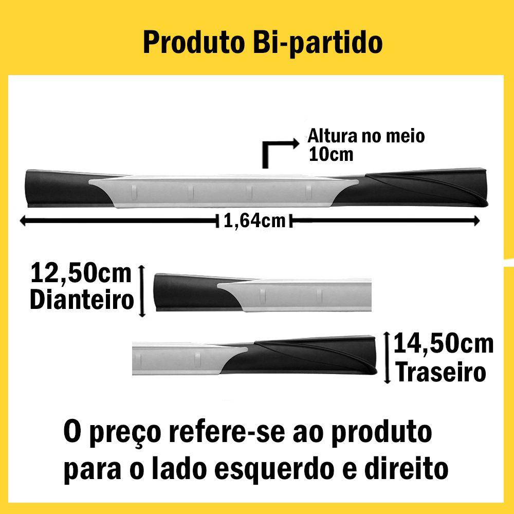 Spoiler Lateral Sandero 07 08 09 10 11 12 13 14 4 Portas Cor Preta Com Aplique Central Prata e Ponteira Preta Bi-Partido