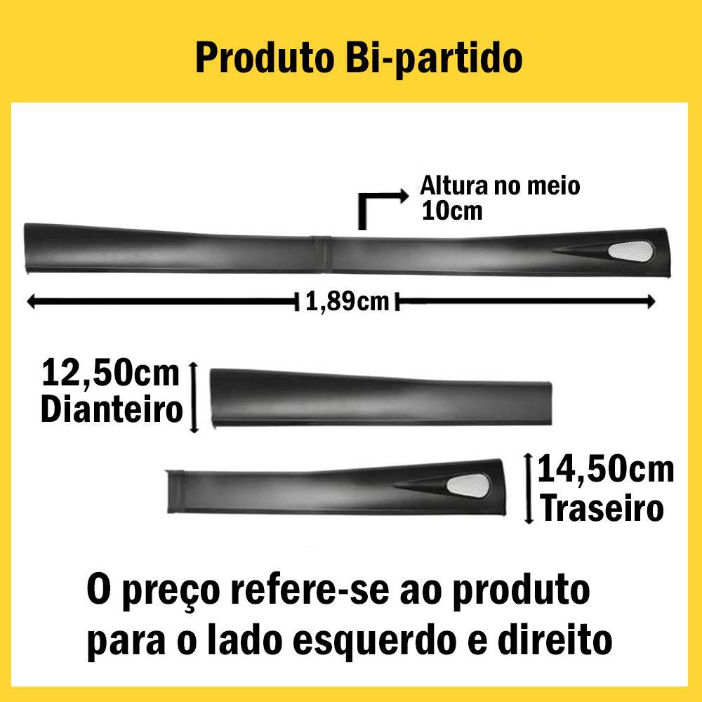 Spoiler Lateral Saveiro 98 99 00 01 02 03 04 05 06 07 08 2 Portas Cor Preta Bi-Partido