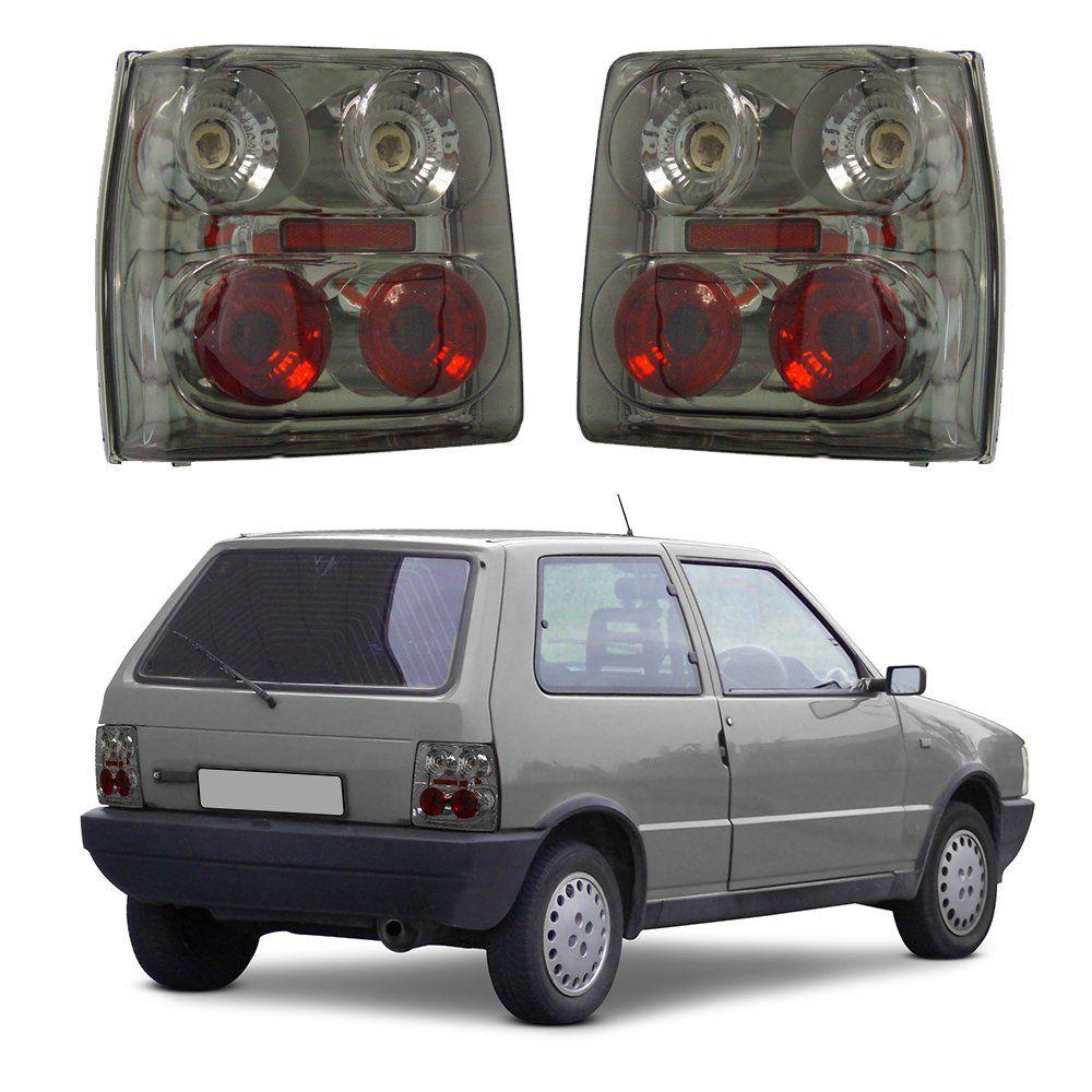 c82154afa Lanterna Traseira Fiat Uno Modelo Esportivo Tuning Preto Fumê 84 85 86 87  88 89 90 ...