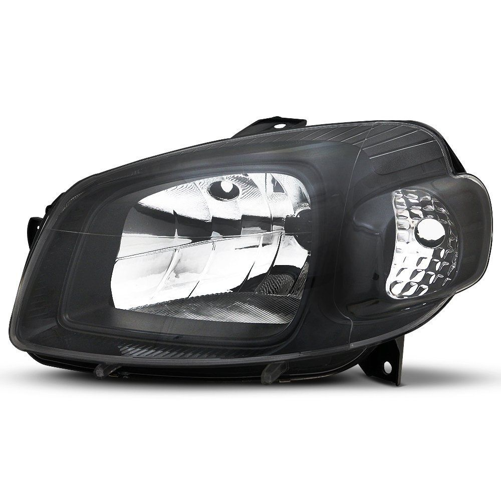 Par de Faróis Uno Vivace e Fiorino Máscara Negra Dianteiros com Kit Xênon H4 8.000K – Modelo Esportivo – 10 11 12 13 14 15 16 17 – Marca INOV9