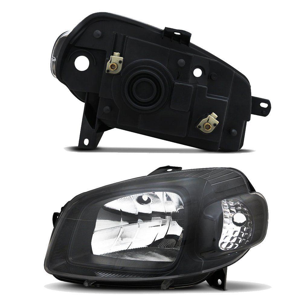 Par de Faróis Uno Vivace e Fiorino Máscara Negra Dianteiros com Par de Lâmpadas T10 5 LEDS – Modelo Esportivo – 10 11 12 13 14 15 16 17 – Marca INOV9