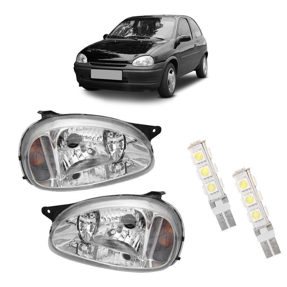 Farol Corsa, Wagon e Pick-up Máscara Cromada Bi-Parábola com Lâmpadas T10 13 LEDS – Modelo Original – 94 95 96 97 98 99 00 01 02 - Marca INOV9  - Artmilhas