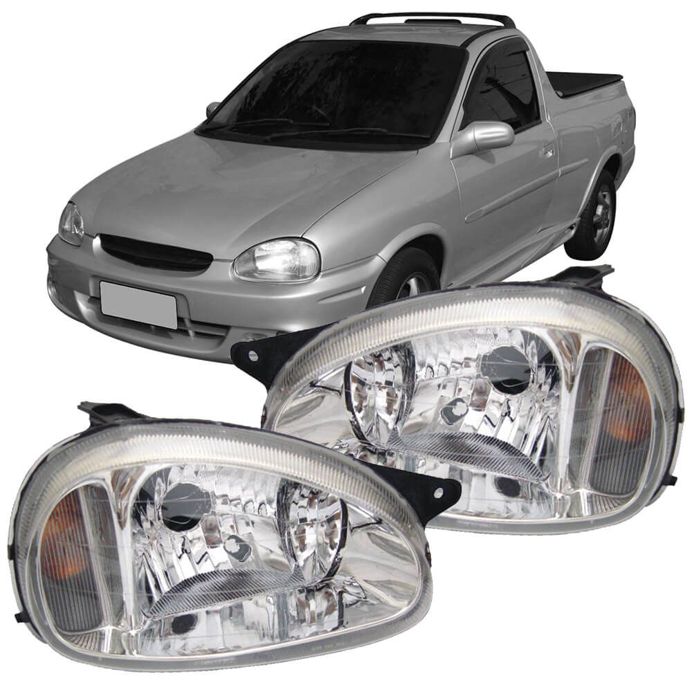 Par Farol Corsa Hatch Wagon Pick-up Sedan 94 95 96 97 98 99 00 01 02 03 Corsa Classic 03 04 05 06 07 08 09 10 Lente de Vidro Lente Lisa Pisca Cristal