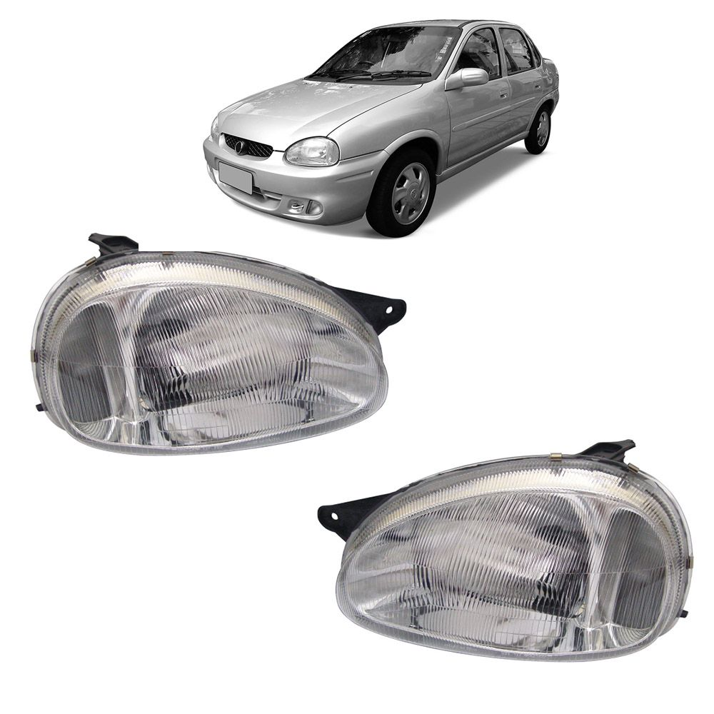 Par Farol Corsa Hatch Wagon Pick-up Sedan 94 95 96 97 98 99 00 01 02 03 Corsa Classic 03 04 05 06 07 08 09 10 Lente de Acrílico Pisca Cristal