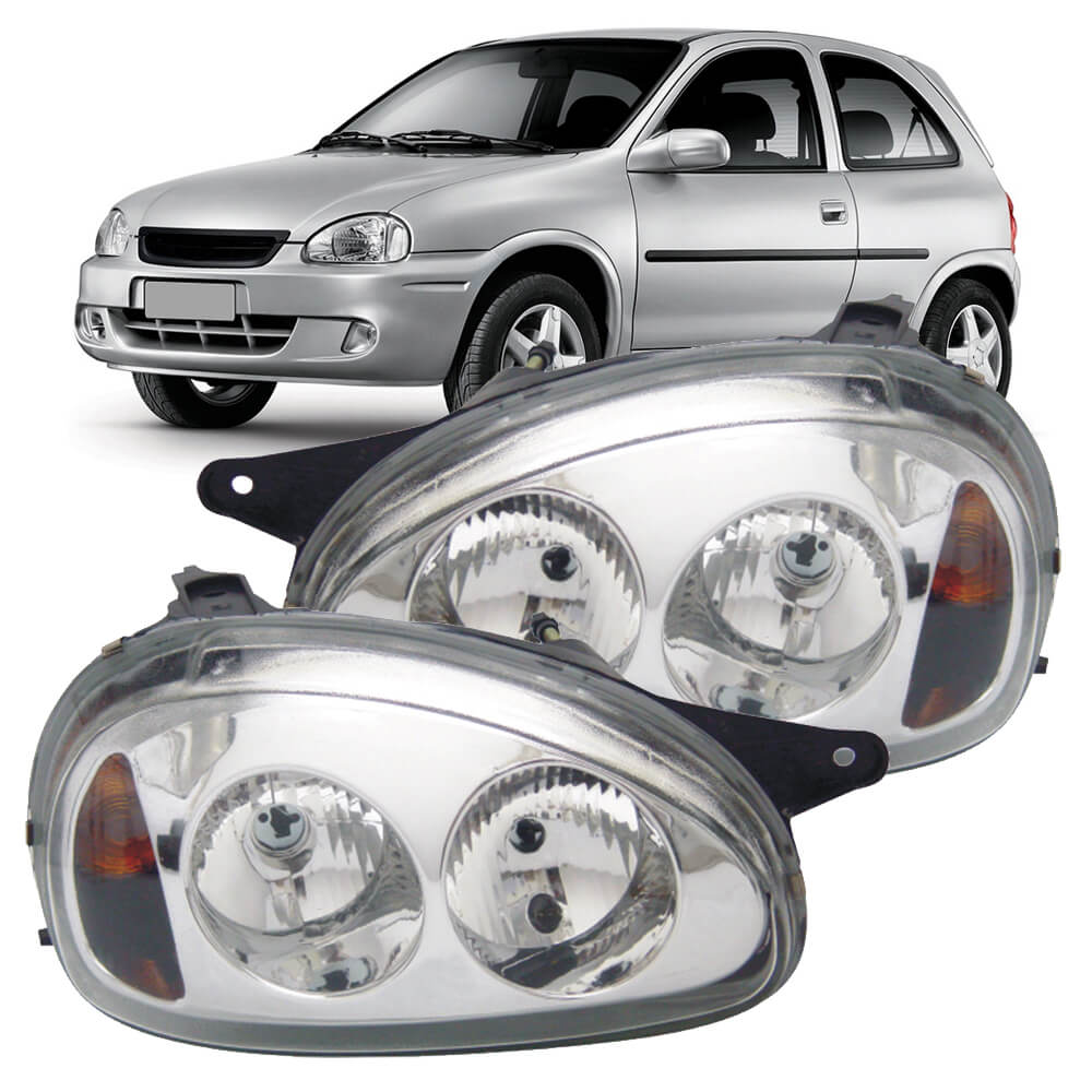 Par Farol Corsa Hatch Wagon Pick-up Sedan 94 95 96 97 98 99 00 01 02 03 Corsa Classic 03 04 05 06 07 08 09 10 Máscara Cromada Foco Duplo