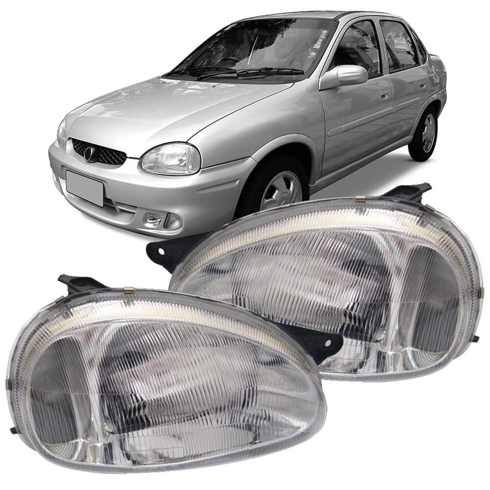 Par Farol Corsa Sedan Wagon Hatch Pick-up 94 95 96 97 98 99 00 01 02 03 Classic 03 04 05 06 07 08 09 10 Lente de Acrílico Pisca Cristal