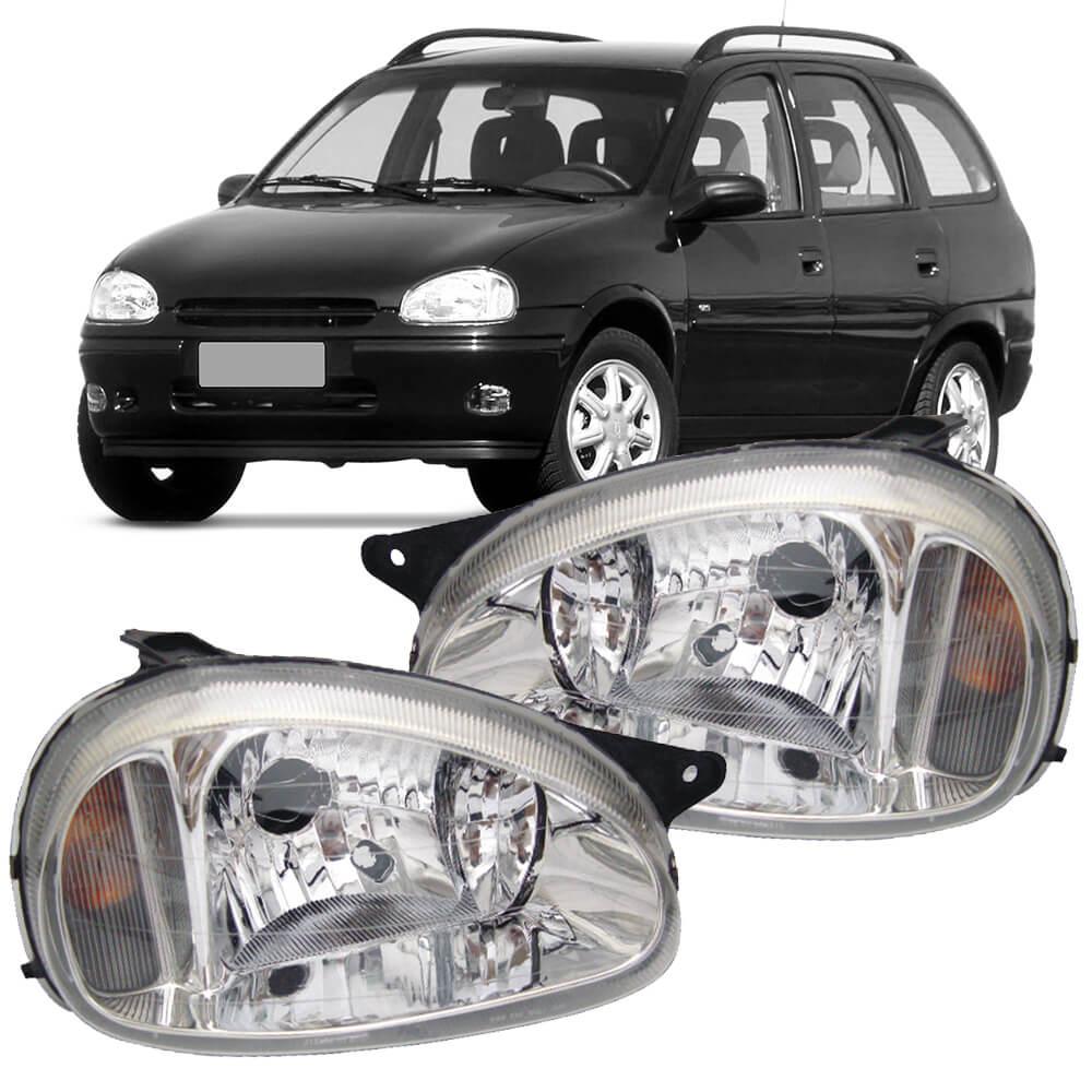 Par Farol Corsa Hatch Wagon Pick-up Sedan 94 95 96 97 98 99 00 01 02 03 Corsa Classic 03 04 05 06 07 08 09 10 Lente de Vidro Lente Lisa Pisca Âmbar