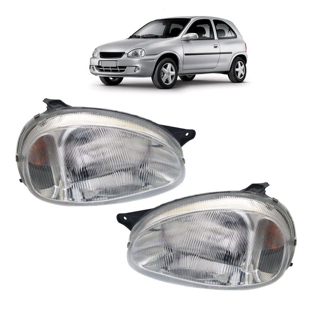 Par Farol Corsa Hatch Wagon Pick-up Sedan 94 95 96 97 98 99 00 01 02 03 Corsa Classic 03 04 05 06 07 08 09 10 Lente de Acrílico Pisca Âmbar