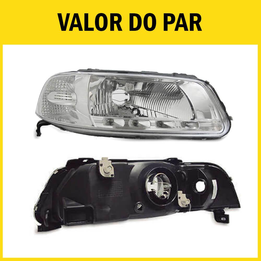 Par Farol Gol G3 Saveiro Parati 00 01 02 03 04 05 Máscara Cromada Com LED Foco Duplo