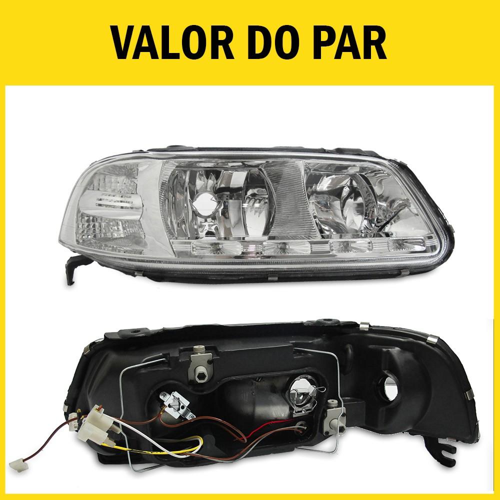 Par Farol Gol G3 Saveiro Parati 00 01 02 03 04 05 Máscara Cromada Com LED Foco Duplo Com Adaptação Para Foco Simples