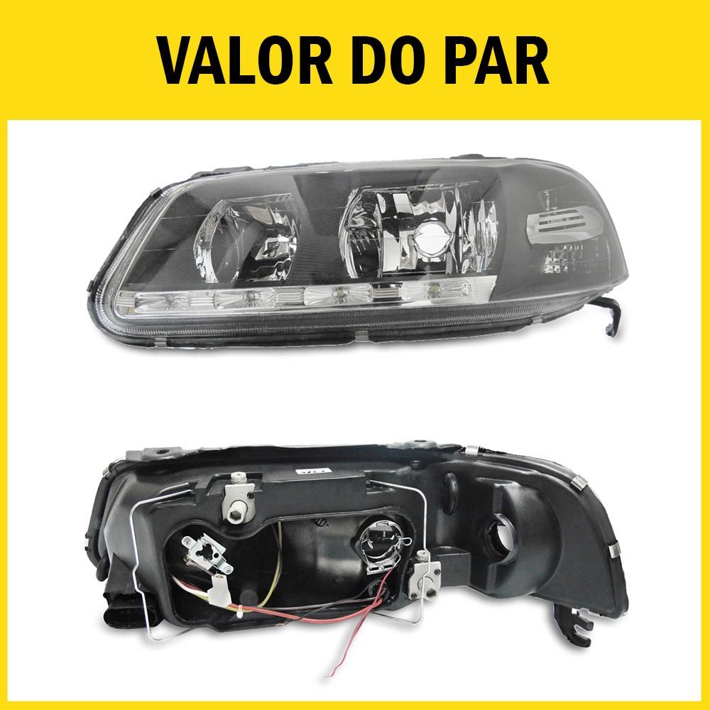 Par Farol Gol G3 Saveiro Parati 00 01 02 03 04 05 Máscara Negra Com LED Foco Duplo