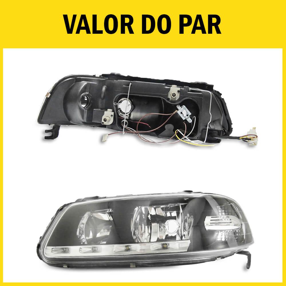 Par Farol Gol G3 Saveiro Parati 00 01 02 03 04 05 Máscara Negra Com LED Foco Duplo Com Adaptação Para Foco Simples