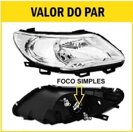 Par Farol Gol G5 Saveiro Voyage 09 10 11 12 13 Máscara Negra Foco Simples