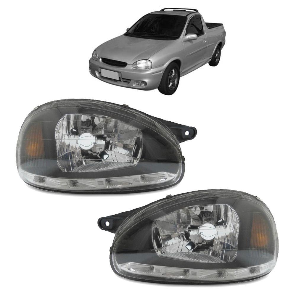 Par Farol Corsa Hatch Wagon Pick-up Sedan 94 95 96 97 98 99 00 01 02 03 Corsa Classic 03 04 05 06 07 08 09 10 Máscara Negra Com LED
