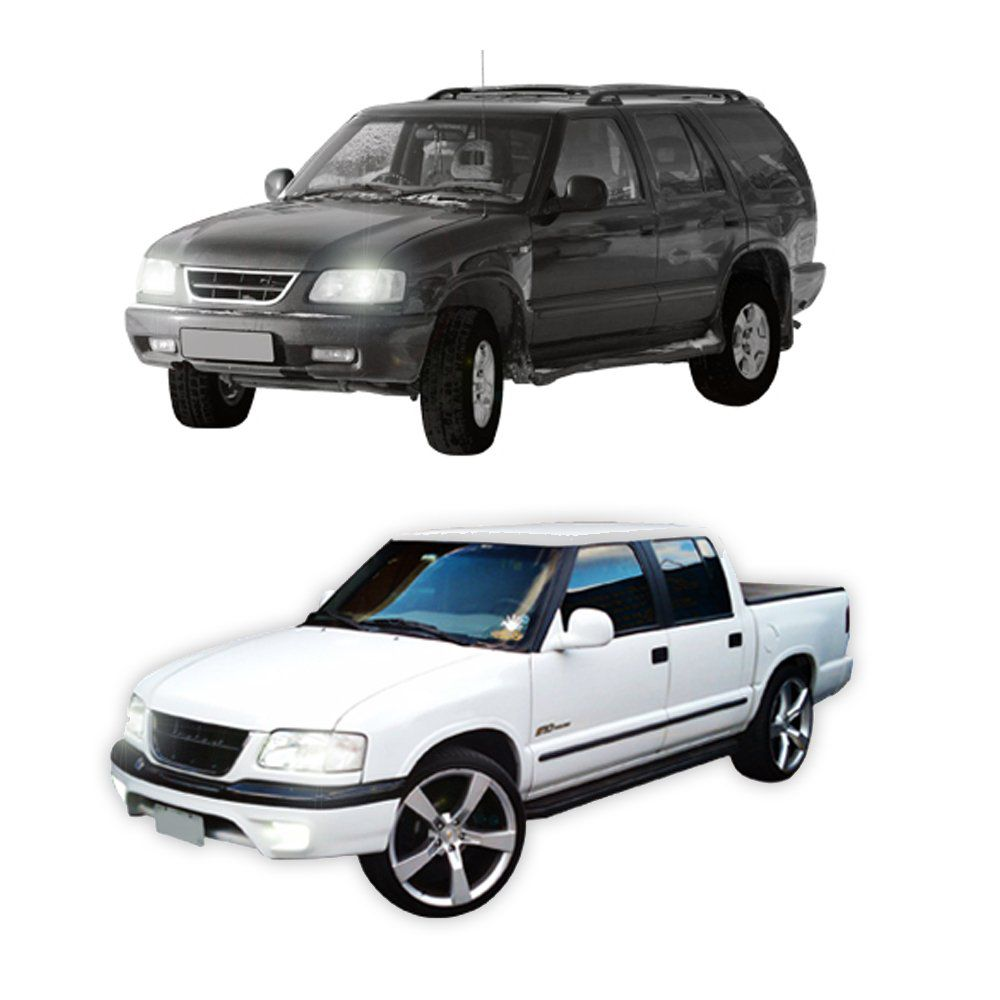 Farol Pick-up S10 e Blazer com Lâmpadas Super Brancas HB3 e HB4 – Modelo Original – 95 96 97 98 99 00 - Marca INOV9