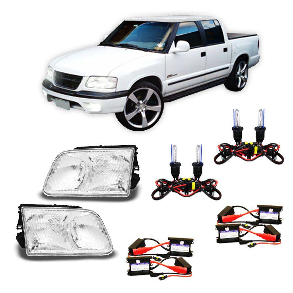 Farol Pick-up S10 e Blazer com Kit Xênon 6000K HB3 e HB4 – Modelo Original – 95 96 97 98 99 00 - Marca INOV9