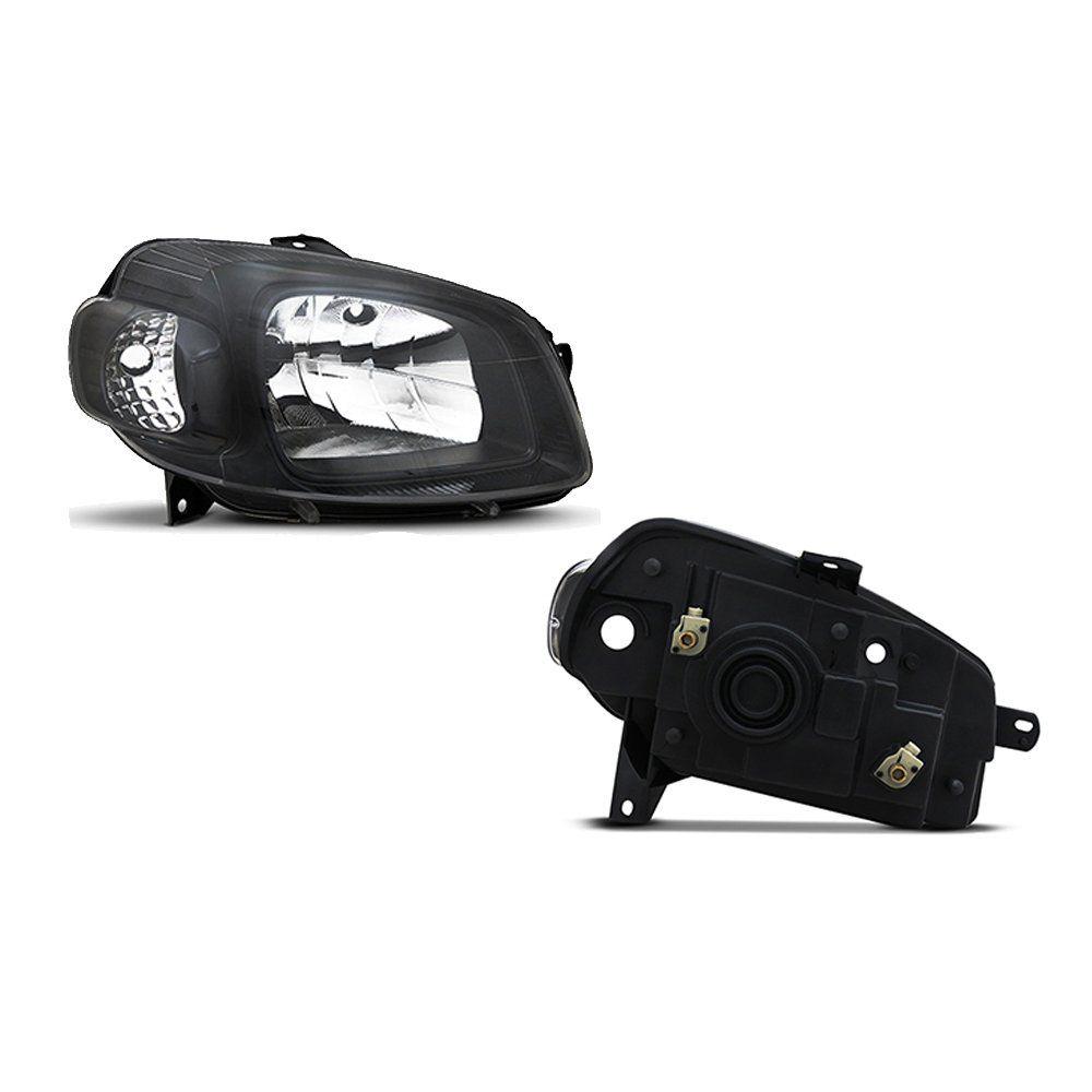 Farol Uno e Fiorino Máscara Negra com Lâmpadas Halógenas H4 – Modelo Esportivo – 10 11 12 13 14 15 16 17 - Marca INOV9