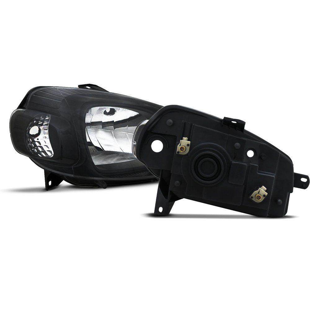 Farol Uno e Fiorino Máscara Negra com Lâmpadas Super Brancas H4 – Modelo Esportivo – 10 11 12 13 14 15 16 17 - Marca INOV9