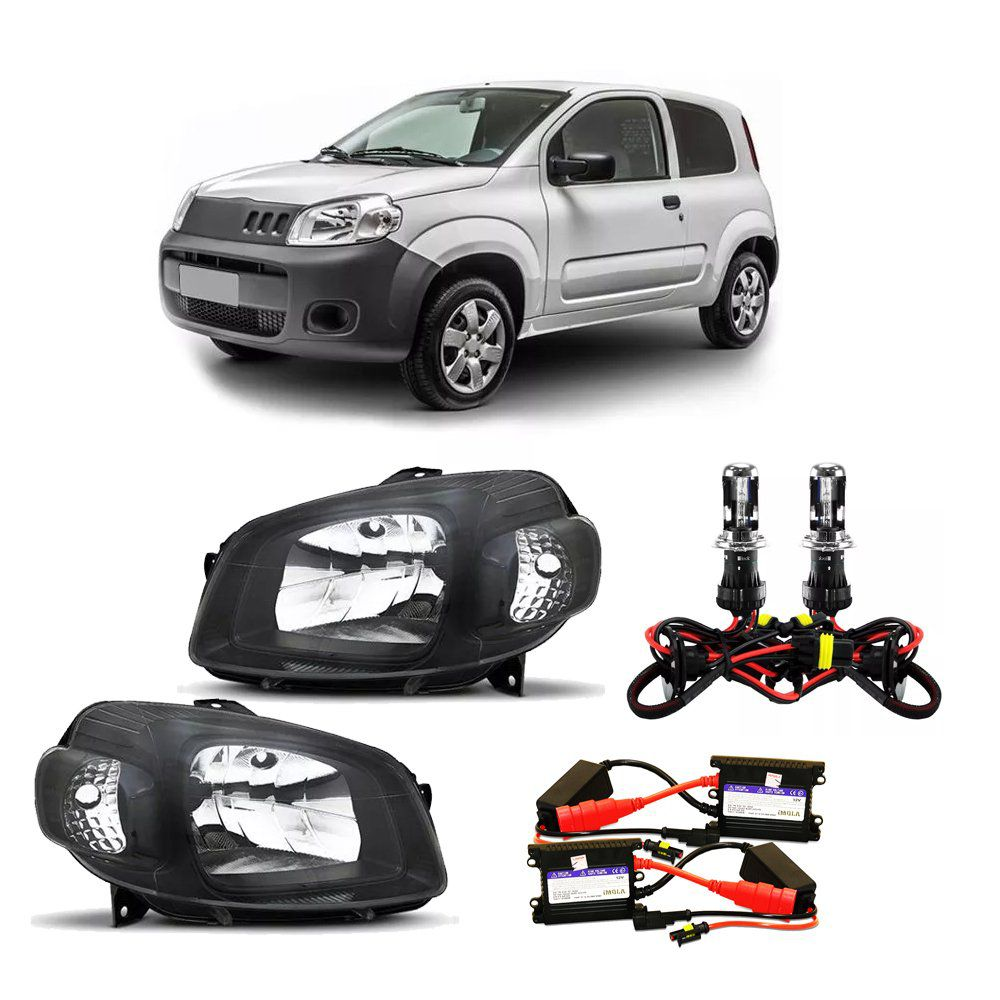 Farol Uno e Fiorino Máscara Negra com Kit Xênon 6000K H4 – Modelo Esportivo – 10 11 12 13 14 15 16 17 - Marca INOV9