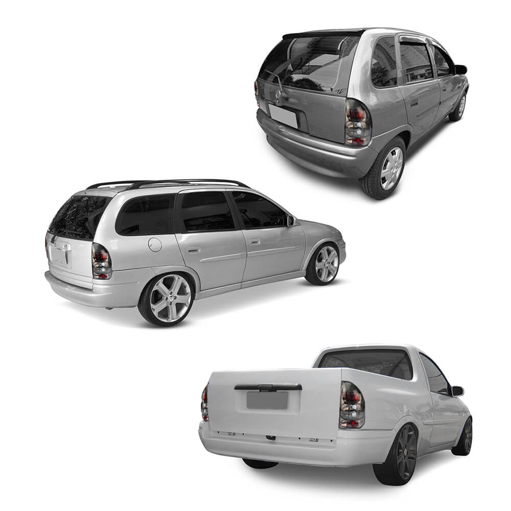 Par Lanterna Traseira Corsa Hatch Pick-up Wagon 94 95 96 97 98 99 00 01 02 03 Fumê