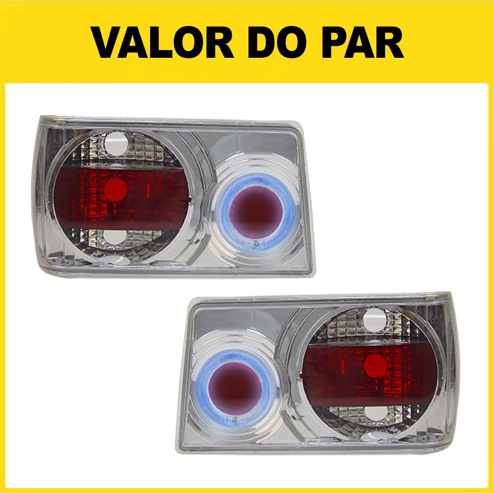 Par Lanterna Traseira Chevette 83 84 85 86 87 88 89 90 91 92 93 Com Efeito Neon Modelo Cristal