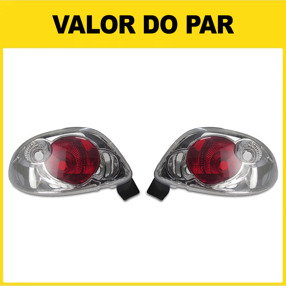 Par Lanterna Traseira Peugeot 206 96 97 98 99 00 01 02 03 04 05 06 07 08 Cristal