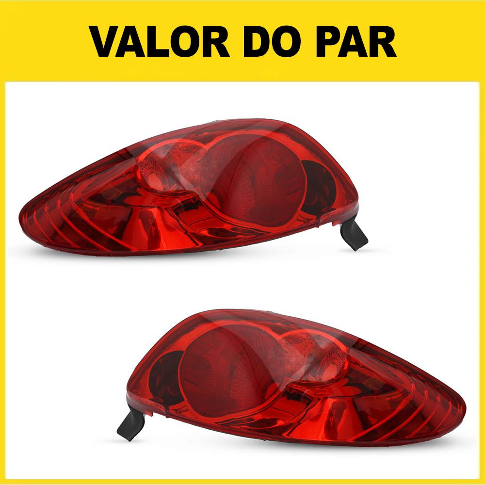 Par Lanterna Traseira Peugeot 206 e 206 CC 96 97 98 99 00 01 02 03 04 05 06 07 08 Modelo RED