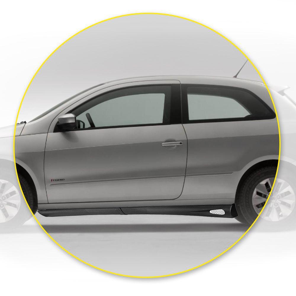 Spoiler Lateral Ford Ká  03 04 05 06 07 08 09 10 11 12 13 14 2 Portas Cor Preta Com Aplique Central Prata e Ponteira Preta Bi-Partido