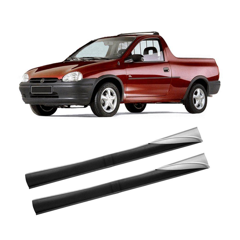 Spoiler Lateral Pick-Up Corsa 94 95 96 97 98 99 00 01 02 03 2 Portas Cor Preta Com Ponteira Prata Bi-Partido  - Artmilhas