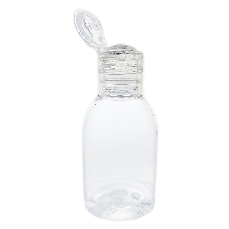 100 Frasco de Plástico PET de 60 ml para álcool gel flip top