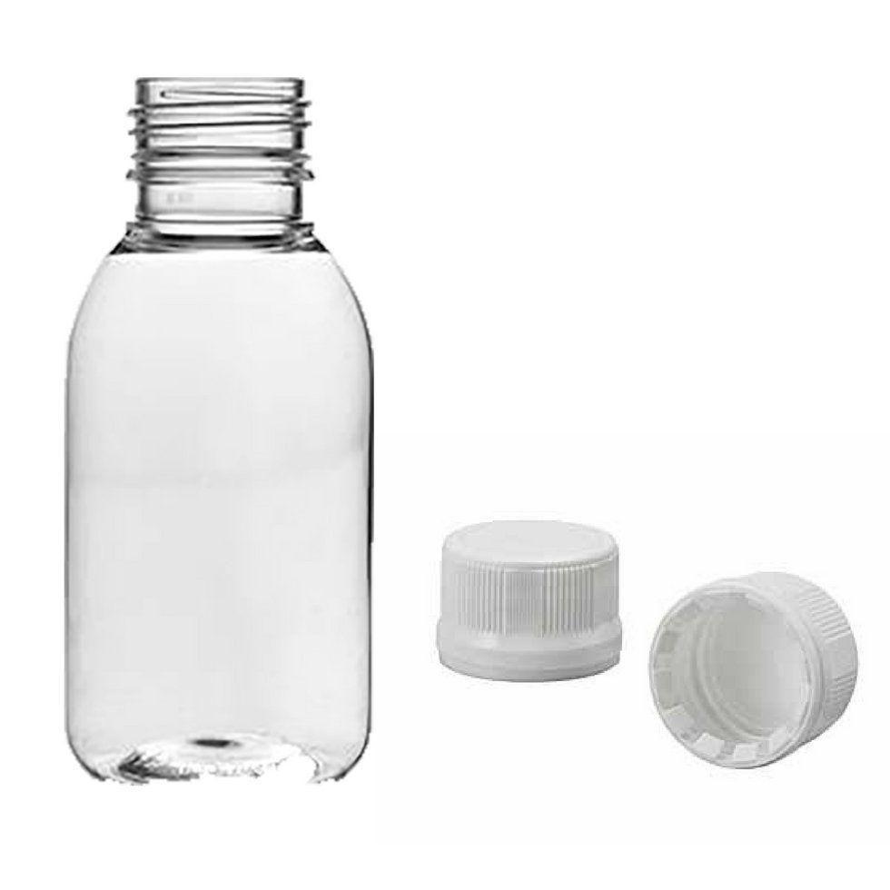 Frasco Plástico de PET 100 ml com tampa Rosca Lacre kit com 25