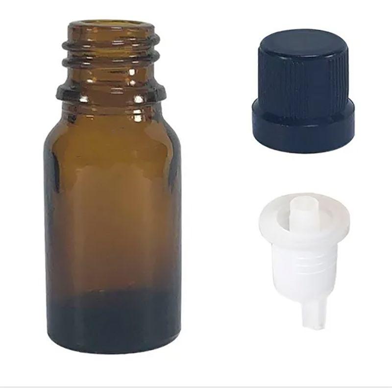 50 Vidro Âmbar de 10 ml para Óleos Essenciais conta gotas