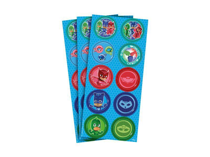Adesivo do PJ Masks para Lembrancinhas kit 3 cartelas