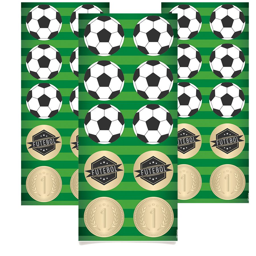 Adesivo para Lembrancinhas tema Futebol kit 3 cartelas