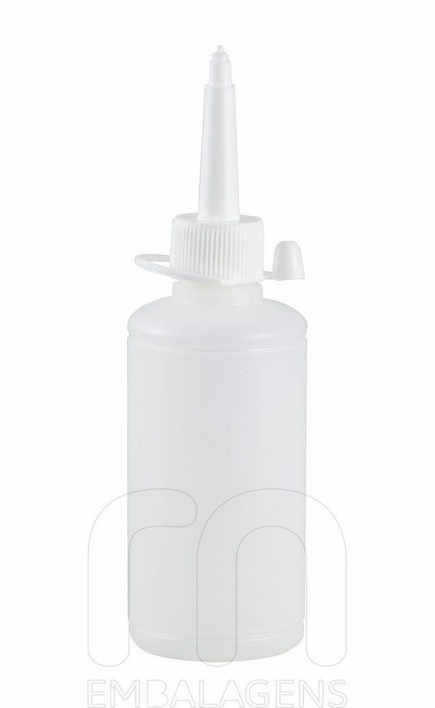 Almotolia de plástico 100 ml com bico reta (10 unid.)