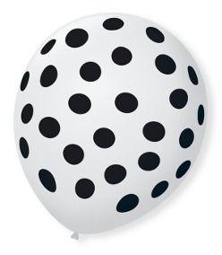 Balão Bexiga Decorada Branca Bolinha preta N 9 pct com 25 unid
