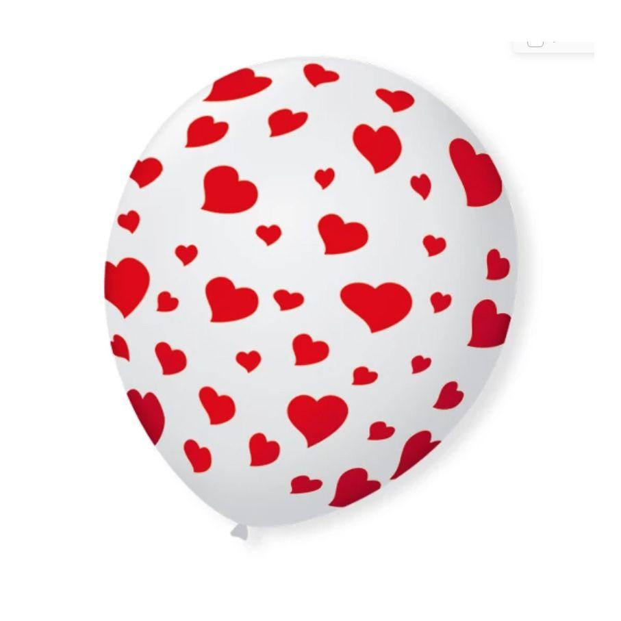 Balão Bexiga Decorada branca coração Vermelho N9 pct com 25 unid.