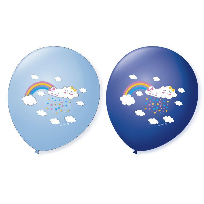 Balão Bexiga Decorada Chuva de Amor Azul N9 pct com 25 unid