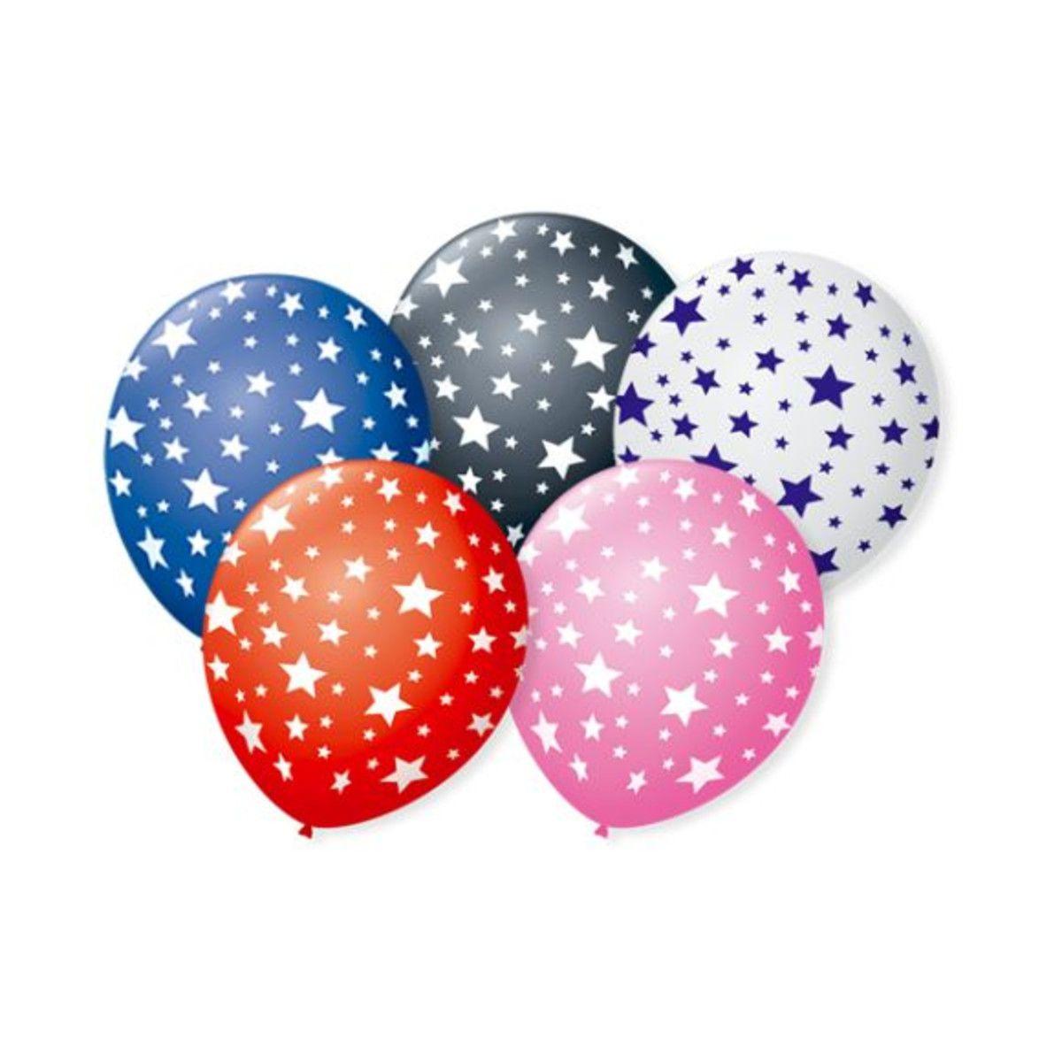 Balão Bexiga Decorada Estrela Sortida N 9 pct com 25 unid