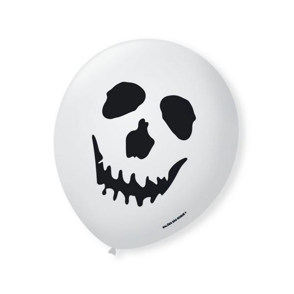 Balão Bexiga Decorada Halloween Branco N9 pct com 25 unid