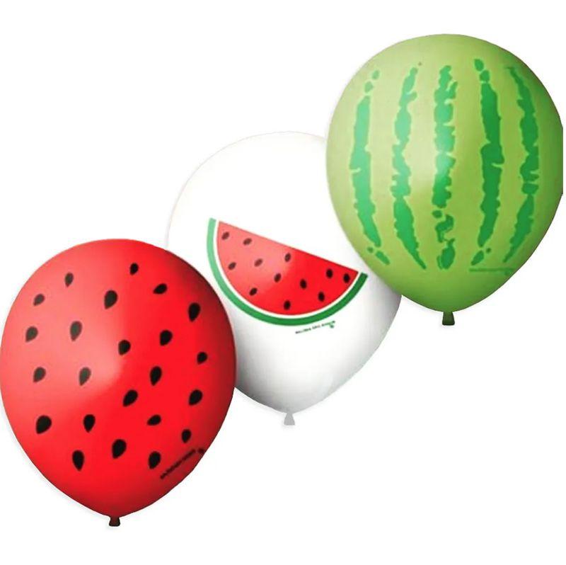 Balão Bexiga Decorada melancia N 9 pct com 25 unid