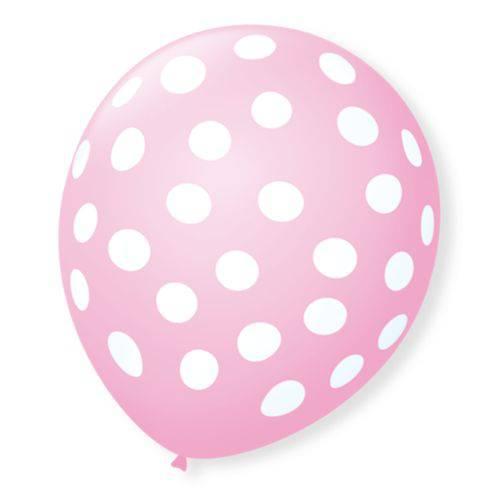 Balão Bexiga Decorada Rosa Bolinha Branca N 9 pct com 25 unid