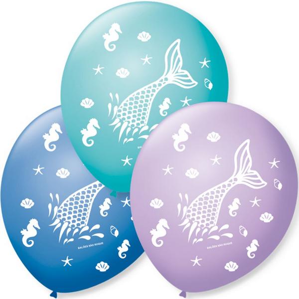 Balão Bexiga Decorada Sereia N 9 pct com 25 unid