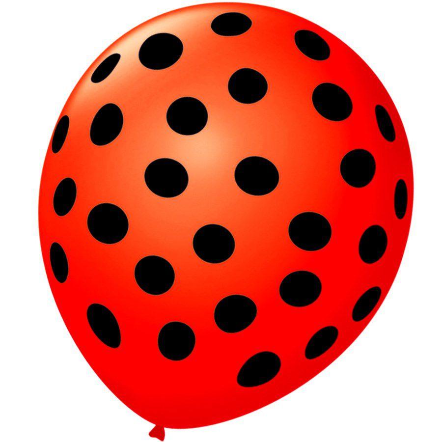 Balão Bexiga Decorada Vermelho Bolinha Preta N 9 pct com 25 unid