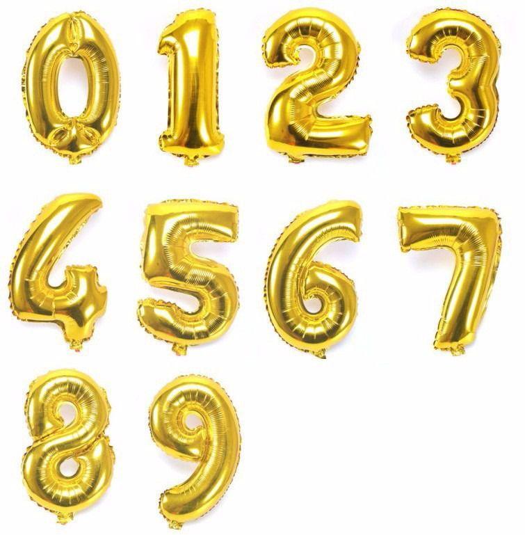 Balão de Número Metalizado Dourado 45 cm